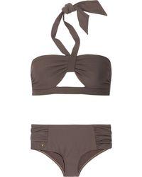 Chloé Cutout Piqué Halterneck Bikini - Lyst