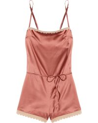 Stella McCartney Sam Partying Scalloped Stretch Silk-Satin Playsuit pink - Lyst