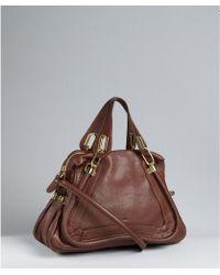Chloé Ebony Calfskin Paraty Medium Top Handle Bag - Lyst