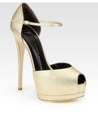 Giuseppe Zanotti Metallic Leather Peep Toe Mary Jane Pumps - Lyst