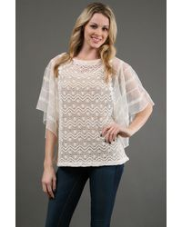 Free People Crochet Tunic Top in Ivory - Lyst