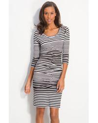 Nicole Miller Stripe Jersey Sheath Dress - Lyst