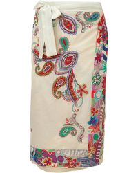 Etro Cream Multicolor Sequin Sarong - Lyst
