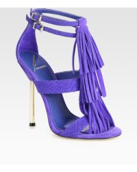 B Brian Atwood Luciana Snake-print Leather and Suede Fringe Sandals - Lyst