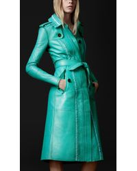 Burberry Prorsum Brogue Leather Trench Coat - Lyst