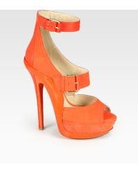Jimmy Choo Letitia Suede and Leather Platform Sandals - Lyst