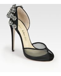 Max Kibardin - Bejeweled Suede and Mesh Dorsay Pumps - Lyst