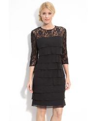 Alex Evenings Tiered Chiffon & Lace Sheath Dress - Lyst