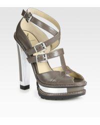 B Brian Atwood Teatro Leather Platform Sandals - Lyst