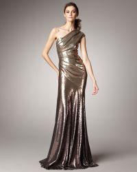 Donna Karan New York One-shoulder Ombre Sequin Gown - Lyst
