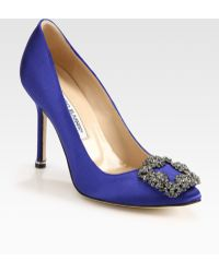 Manolo Blahnik Hangisi Jewel Satin Point-toe Pumps - Lyst