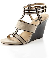 Rachel Zoe Debra Linen-leather Wedge Sandal - Lyst