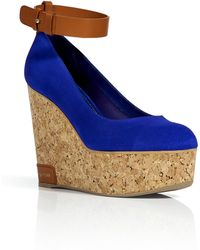 Sergio Rossi Royal Blue Suede Cork Wedges - Lyst