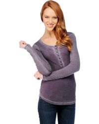 Splendid Distressed Thermal Henley - Lyst