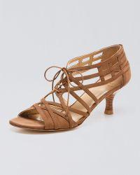 Stuart Weitzman Lace-up Mid-heel Sandal - Lyst