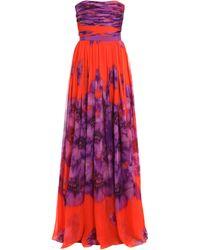 Giambattista Valli Silk-chiffon Long Dress purple - Lyst