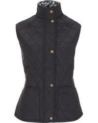 Barbour - Mitsi Liberty Print Navy Liddesdale Quilted Gilet - Lyst