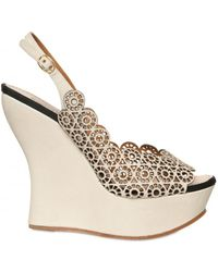Nina Ricci - 130mm Lasered Leather Open Toe Wedges - Lyst