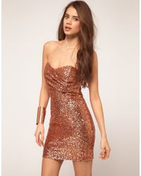 TFNC Tfnc Bandeau Sweetheart Sequin Dress - Lyst