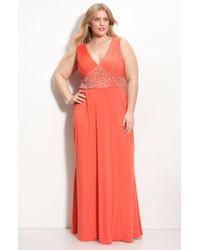 JS Boutique Beaded Waist Jersey Gown - Lyst