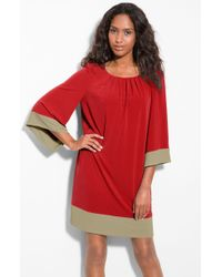 Donna Ricco Bell Sleeve Jersey Shift Dress - Lyst