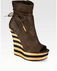 Burberry Prorsum - Woven Leather Peep Toe Wedge Ankle Boots - Lyst
