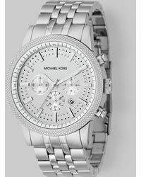 Michael Kors Round Stainless Steel Chronograph Watch silver - Lyst