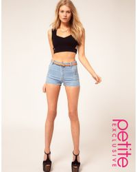 ASOS Collection Asos Petite Exclusive Shorts in Bleach Wash - Lyst