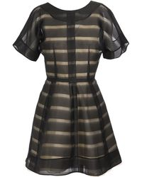 Balenciaga Striped-effect Silk Organza Dress - Lyst