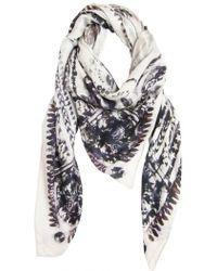 Balmain Eagle Print Cashmere Blend Modal Scarf white - Lyst