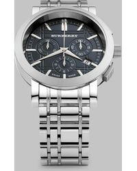 Burberry Stainless Steel Chronograph Watch - Lyst