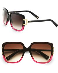 Dior Metal Accented Rectangular Plastic Sunglasses - Lyst