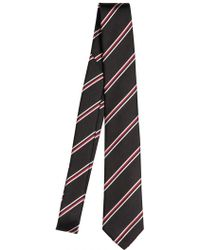 Lanvin 7cm Striped Silk Twill Tie black - Lyst