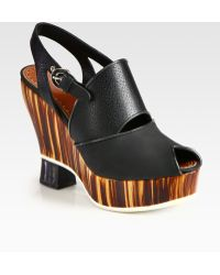 Proenza Schouler Leather Slingback Wedge Sandals brown - Lyst