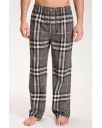 Burberry Check Print Pajama Pants gray - Lyst