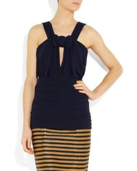 Burberry Prorsum Pleated Silk-crepe Top - Lyst