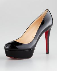 Christian Louboutin Bianca Almond-Toe Platform Red Sole Pump - Lyst