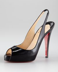 Christian Louboutin No Prive Leather Slingback Red Sole Pump - Lyst