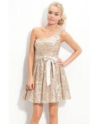 Way-in   One Shoulder Sequin Sash Dress   Lyst