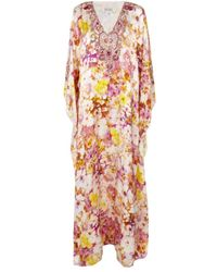 Badgley Mischka - Floral Kaftan Gown - Lyst