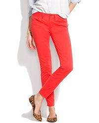 Madewell  Skinny Ankle Colorpop Jeans red - Lyst