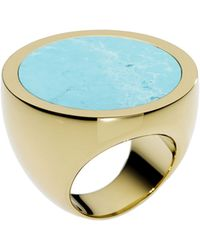 Michael Kors Golden Slice Ring with Turquoise Detail - Lyst
