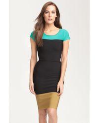 BCBGMAXAZRIA Colorblock Knit Dress - Lyst