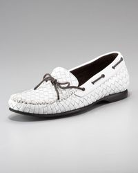 Bottega Veneta Woven Leather Driver, White - Lyst