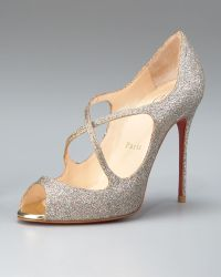 Christian Louboutin Glittered Crisscross Open-toe Pump - Lyst