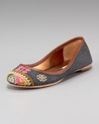 Cynthia Vincent - Embroidered Denim Ballet Flat - Lyst
