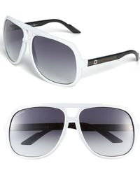 Gucci Logo Temple Aviator Sunglasses - Lyst