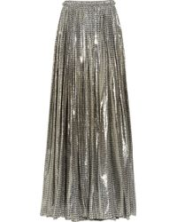 Lanvin Printed Silk-blend Lamé Maxi Skirt gold - Lyst