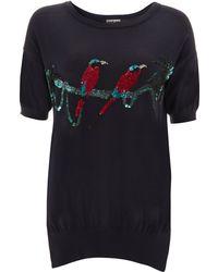 Markus Lupfer Navy Short Sleeve Sequin Birds Jumper - Lyst