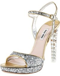 Miu Miu Glittered Leather Platform Sandal silver - Lyst
